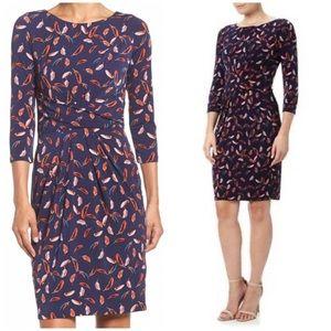 Adrianna Papell Stretch Sheath Feather Print Dress